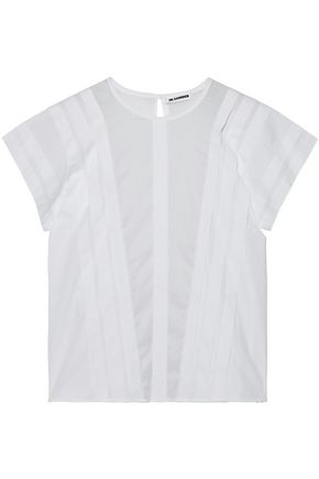 JIL SANDER Voile-paneled pintucked cotton-poplin top