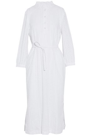 A.P.C. Belted broderie anglaise cotton-poplin shirt dress