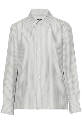 A.P.C. Metallic striped silk-blend shirt