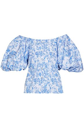 CAROLINE CONSTAS Off-the-shoulder printed cotton-blend poplin top
