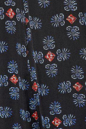 CAROLINE CONSTAS Ruffle-trimmed printed silk-chiffon jumpsuit