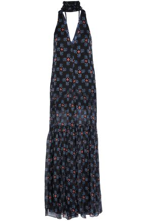 CAROLINE CONSTAS Open-back layered printed silk-chiffon jumpsuit