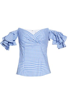 CAROLINE CONSTAS Off-the-shoulder ruffled gingham cotton top