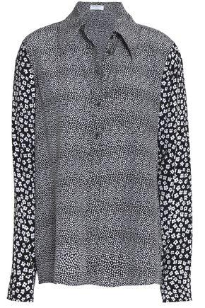 EQUIPMENT Paneled printed silk top