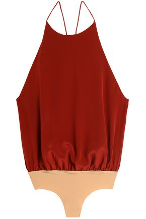 ALIX Gathered silk-crepe bodysuit