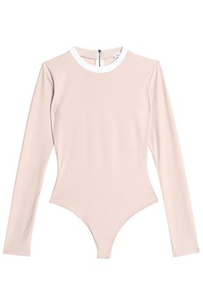 ALIX Leather-trimmed stretch-knit bodysuit