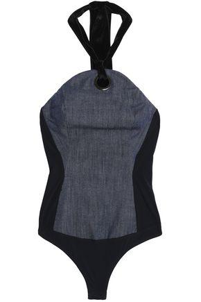 ALIX Velvet-paneled denim halterneck bodysuit