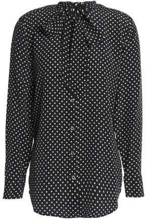 KATE MOSS EQUIPMENT Pussy bow polka dot silk top