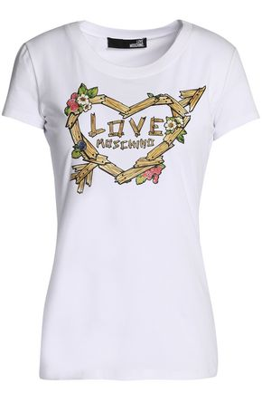 LOVE MOSCHINO Printed stretch cotton-jersey T-shirt