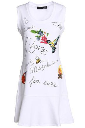 LOVE MOSCHINO Embroidered stretch cotton-jersey mini dress