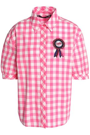 LOVE MOSCHINO Checked cotton-poplin top