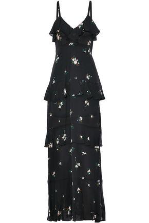 A.l.c. Woman Tiered Printed Silk-crepe Dress Black Size 2 A.L.C. 96wQ1SJb