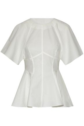 T by ALEXANDER WANG Cotton-poplin peplum top