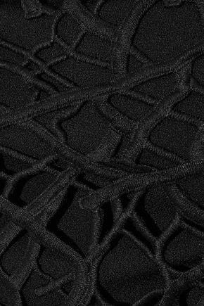 REBECCA VALLANCE Guipure lace-paneled crepe jumpsuit