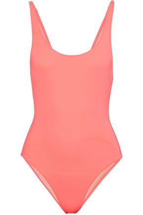 SOLID & STRIPED Open-back two-tone swimsuit