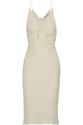 T by ALEXANDER WANG Tie-front ruched crepe dress