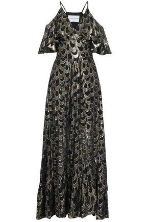PERSEVERANCE Cold-shoulder fil coupé silk-blend maxi dress