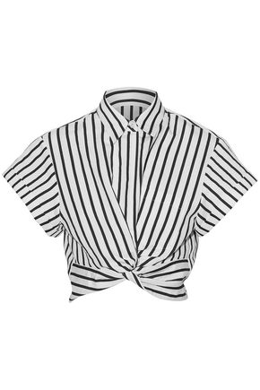 T by ALEXANDER WANG Cropped twist-front striped cotton-blend poplin shirt
