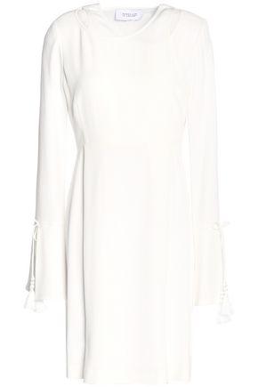 DEREK LAM 10 CROSBY Layered tasseled two-tone crepe mini dress