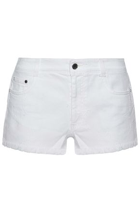 STELLA McCARTNEY Frayed embroidered denim shorts