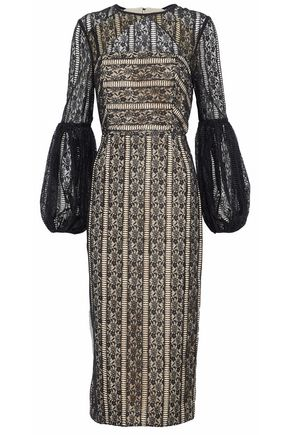 REBECCA VALLANCE Cutout layered lace midi dress