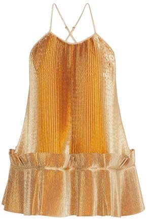 STELLA McCARTNEY Viviana plissé lamé peplum camisole