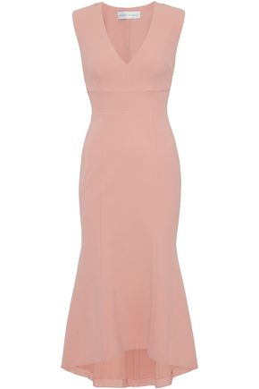 REBECCA VALLANCE Cutout lace-up fluted stretch-crepe dress