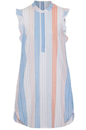 STELLA McCARTNEY Ruffled striped cotton-blend mini dress
