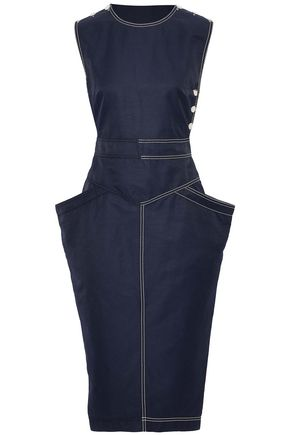 STELLA McCARTNEY Wrap-effect button-detailed twill dress