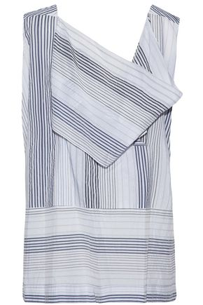 STELLA McCARTNEY Draped cutout striped cotton-blend top