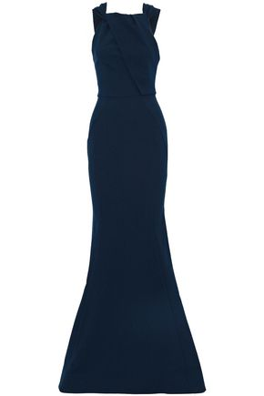 REBECCA VALLANCE Fluted twist-front crepe gown