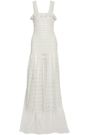 STELLA McCARTNEY Ruffle-trimmed smocked lace maxi dress