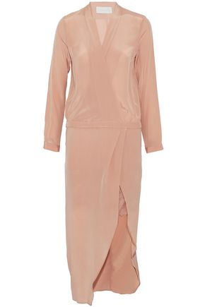 MICHELLE MASON Wrap-effect asymmetric lace-trimmed silk-satin midi dress