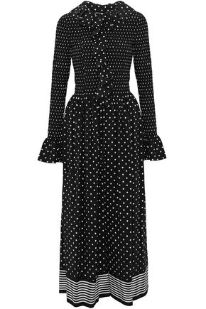 STELLA McCARTNEY Smocked ruffled polka-dot silk jumpsuit