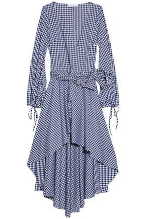 CAROLINE CONSTAS Wrap-effect ruffled gingham cotton-poplin dress
