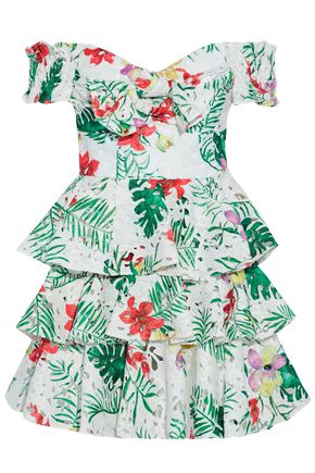CAROLINE CONSTAS Off-the-shoulder printed guipure lace mini dress