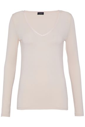 JOSEPH Satin-trimmed stretch-jersey top
