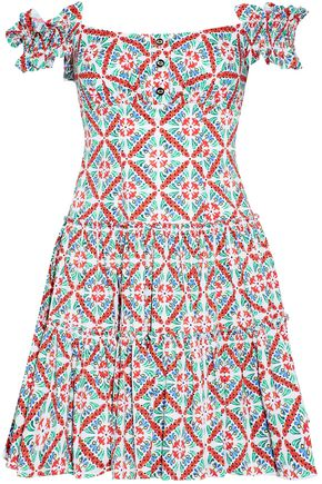 CAROLINE CONSTAS Maria off-the-shoulder pleated printed cotton-blend poplin mini dress