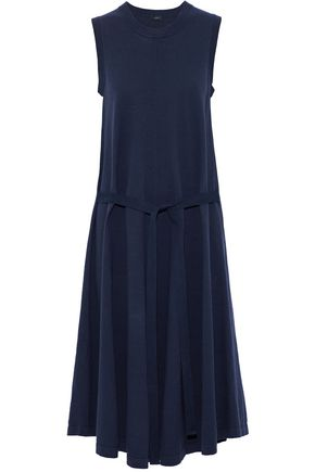 JOSEPH Tie-front pleated cotton-jersey midi dress