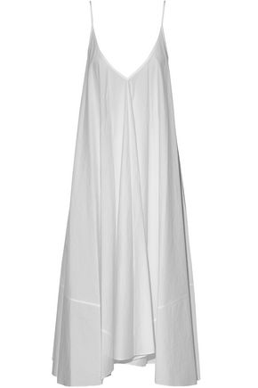 T by ALEXANDER WANG Pleated cotton-poplin midi dress