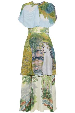 STELLA McCARTNEY Tiered printed plissé crepe de chine gown