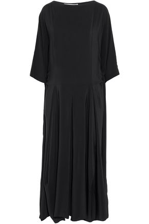 STELLA McCARTNEY Draped pleated silk crepe de chine midi dress