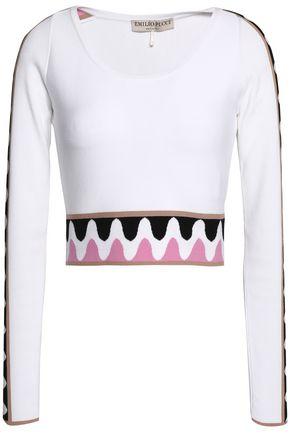 EMILIO PUCCI Cropped intarsia-knit sweater