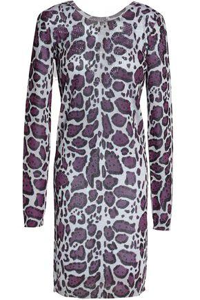 JUST CAVALLI Leopard-print rib-knitted mini dress