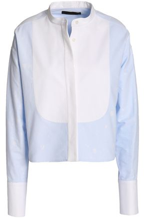ALEXANDER WANG Paneled two-tone cotton-poplin top