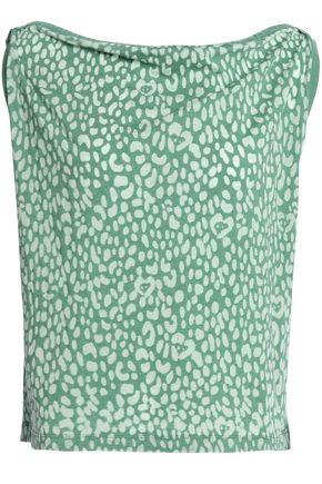 JUST CAVALLI Draped leopard-print stretch-knit top