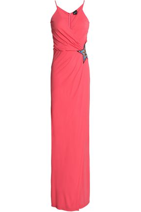JUST CAVALLI Wrap-effect embellished crepe maxi dress