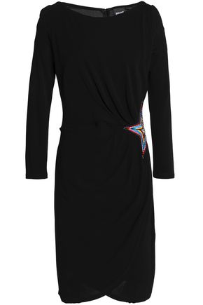 JUST CAVALLI Wrap-effect asymmetric embellished crepe mini dress