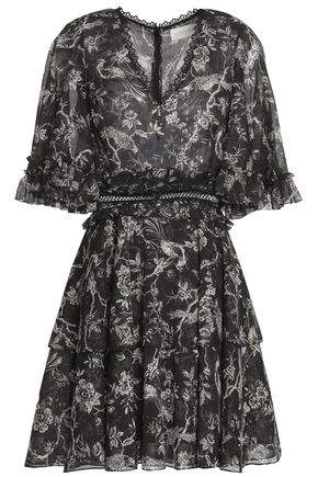 SACHIN & BABI Belted printed chiffon mini dress