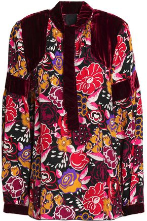 ANNA SUI Pussy bow velvet and silk paneled top